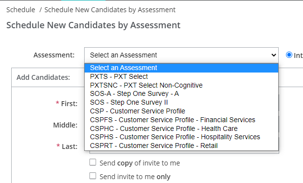 PAC help: select assessment