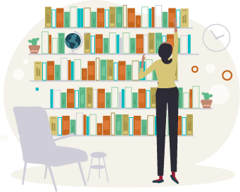 woman picking from performance library