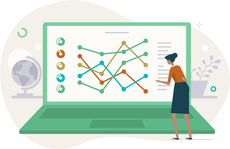 illustration of a woman inspecting graphs and charts on a laptop screen